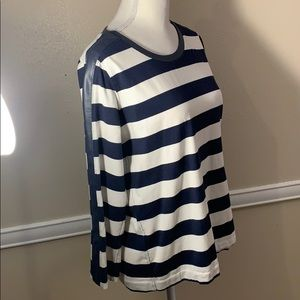 NWOT J CREW NAVY LEATHER TRIMMED COTTON TOP!